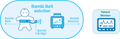 Bambi-Belt communicates wirelessly with a base station where the algorithms detect the vital signs. These signals are communicated to the patient monitor